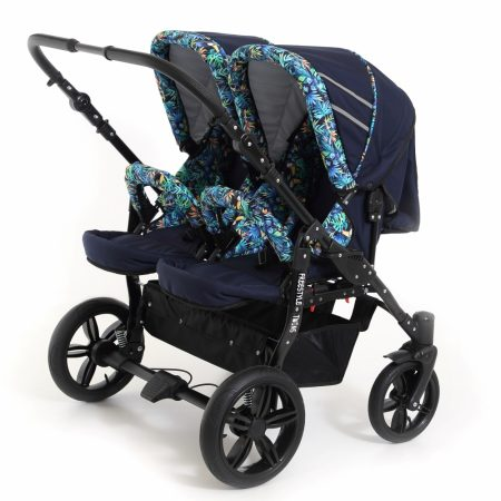 Carucior copii gemeni side by side 3 in 1 Pj Stroller Lovely Blue Leaves
